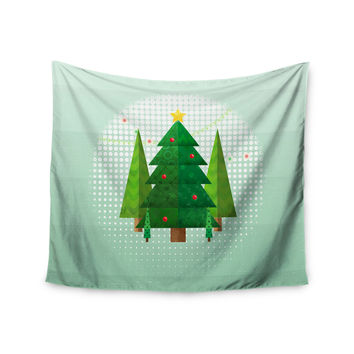 "Noonday Design ""Geometric Christmas Tree"" Green White Wall Tapestry"