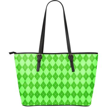 St Patricks Day Large Leather Tote Bag
