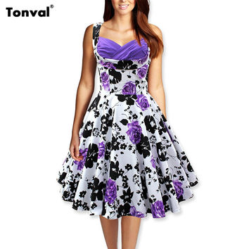 Tonval Women 50s Vintage Floral Swing Dress Audrey Hepburn Tunic Ruched Elegant Rockabilly Dresses Evening Party Sexy Vestidos