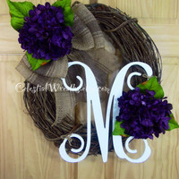 Spring wreath - purple hydrangea wreath - summer wreath - monogram wreath - mothers day - wedding - housewarming