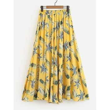 Yellow Foliage Print Skirt