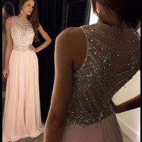 Elegant A Line Scoop Pink Prom Dress, Beading Pink Prom Dresses, Scoop Neck Evening Dresses