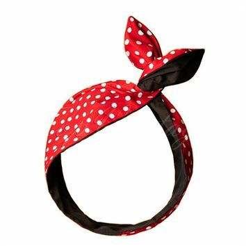 women vintage red polka dot headband hair band accessories pinup bandana bandeau cheveux turban stirnband haarband wrap tie bow
