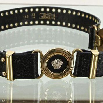 DCCK8X2 Gianni Versace Black Leather Belt Gold Silver Medusa Buckle Sz 85/34 Vintage