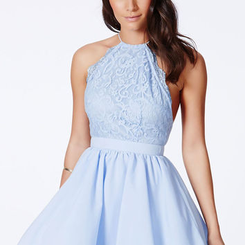 Blue Semi Sheer Crossback Lace Fit and Flare Dress