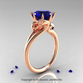 Art Masters Scandinavian 14K Rose Gold 3.0 Ct Royal Blue Sapphire Dragon Engagement Ring R601-14KRGBS