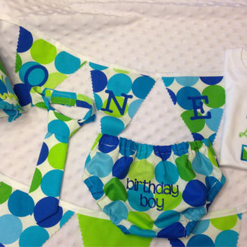 Boys Cake Smash Outfit - Blue Green Dots - Diaper Cover, Tie & Birthday Hat - Birthday Set