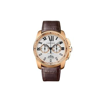 Cartier Calibre Men's 18k Rose Gold Automatic Chronograph Watch - W7100044