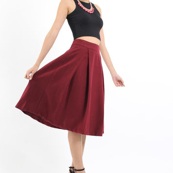 Gabby Midi Skirt in Maroon