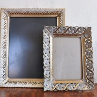 Pair of Vintage Ornate Gold Tone Picture Frames, Metal Filigree Photo Frames, 5x7 and 8x10