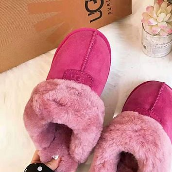 """UGG"" Winter Popular Women Men Warm Flat Snow Ankle Slipper Shoes Boots Rose Red"