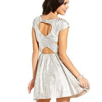 Hailey Logan Juniors Dress, Cap Sleeve Metallic Cutout Skater - Juniors Dresses - Macy's