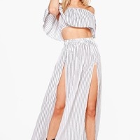 Erin Woven Stripe Off The Shoulder Wrap Skirt Co-Ord | Boohoo