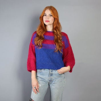 90s SHAGGY MOHAIR SWEATER /  Cobalt Blue Fuchsia Cropped Pullover, xs-m