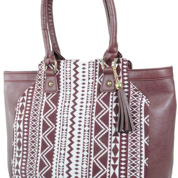 Vegan Leather Tribal Chevron Boho Tote Bag Purse w/ Fringe Charm