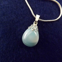 Larimar charm pendant small size sky blue natural stone genuine Dominican with silver plated cup and bail and with silver plated necklace