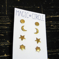 Celestial Earring Set  Full Moon Crescent by magiccircleclothing