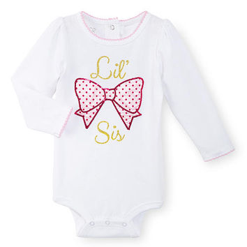 "Koala Kids Girls White ""Lil Sis"" Long Sleeve Bodysuit with Polka Dot Bow Applique"