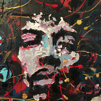 Jimi Hendrix Art Reclaimed Wood Art Wall Hanging Wall Decor Wood Wall Art Upcycled Wood Pallet Art Rock Art Music Art