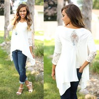 Touch of Lace Tunic in Ivory