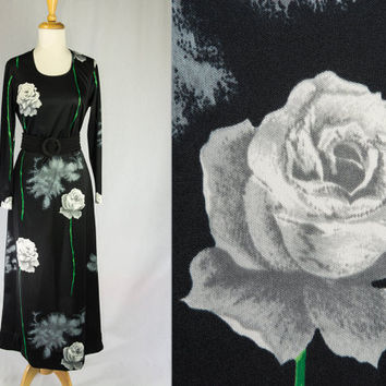Vintage 1970's Black MAXI Dress  POP ART Graphic Roses Novelty Print