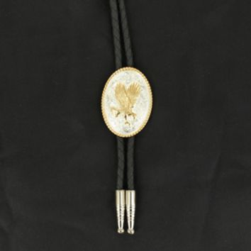 Flying Gold Eagle Silver Bolo Tie