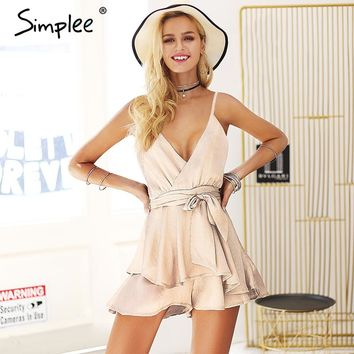 Simplee V neck spaghetti strap sexy rompers Womens jumpsuit sash tie satin elegant playsuit 2018 Summer beach bodysuit macacao