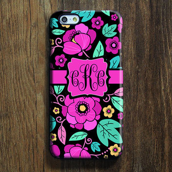 Classy Flowers Monogram iPhone 6 Case iPhone 6 plus Case Custom iPhone 5S Case iPhone 5C Case iPhone 4S Case Galaxy S6 Edge S5 S4 Case 117