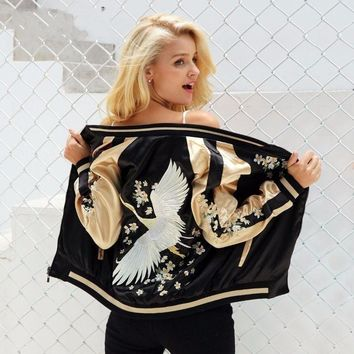 Chicloth Black Floral Embroidery Satin Jacket
