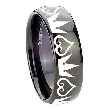 8MM Classic Dome Hearts and Crowns Shiny Black Tungsten Laser Engraved Ring