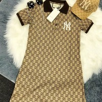 Gucci Trending Women Letter Print Short Sleeve Knit Dress