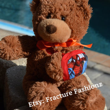 Stuffed Teddy Bear with Spiderman Arm Sling