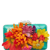 Kotur Espey With Drop-In Chain In Turquoise Snakeskin With Silk Flowers by Kotur for Preorder on Moda Operandi