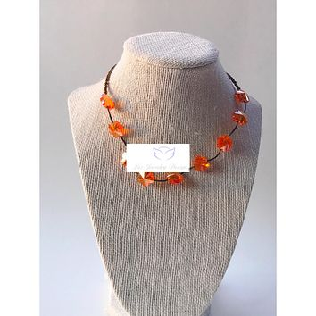 Orange crystal flower and brown necklace