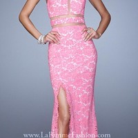 Sheer Inset All Lace Halter Prom Gown by La Femme