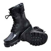 Mens Military Style Leather Army Boot Black Shoes