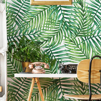 Removable Wallpaper //Peel & Stick // Repositionable // Palm Leafs Flowers // Easy and Fast Remove // Floral //  EXOTIC LEAFS Pattern #041