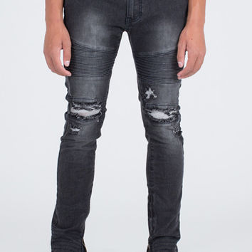 Moto Skinny Fit Black Denim Jeans