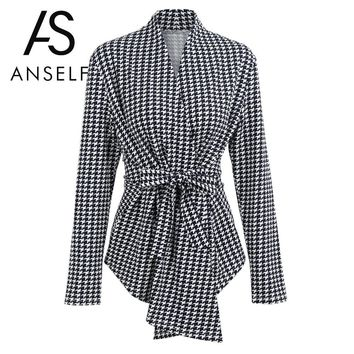 Anself 2018 Kpop Blazer Women Houndstooth Plaid Cardigan Coat Long Sleeve Open Front Waist Strap Asymmetrical Casual Top Outwear