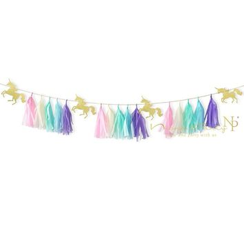 Nicro 19Pcs/Set Unicorn Colorful Tissue Tassel Paper Card Garland for Birthday Party Wedding Children's Party Decoration #Tas09