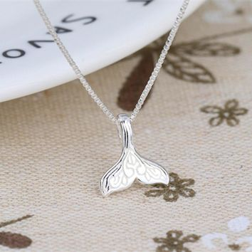 2018 New Hot 925 Sterling Silver Mermaid Tail Necklaces & Pendants For Women Casual Lady Whale Sterling-silver-jewelry Collar