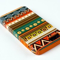 DandyCase 2in1 Hybrid High Impact Hard Aztec Tribal Pattern + Orange Silicone Case Case Cover For Apple iPhone 5S & iPhone 5 (not 5C) + DandyCase Screen Cleaner