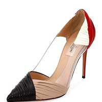 Valentino B-Drape Leather 100mm Pump, Red/Black/Ivory/Poudre 40