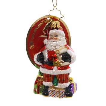 Christopher Radko CHECKING IT TWICE LITTLE GEM Glass Santa Gifts 1019170