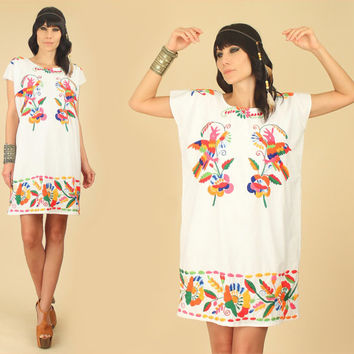 ViNtAgE 70's Mexican EMBROIDERED Peacock Rainbow MiNi Dress Caftan // Colorful Tunic // Floral Cotton Artisan Made Free Size S/M/L