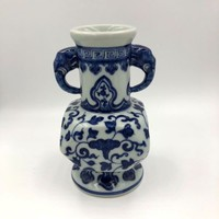 Chinese Antique Qing Dynasty Porcelain Blue & White Vase, Marked Qianlong
