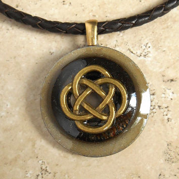 celtic knot necklace: rust - mens jewelry - mens necklace - celtic jewelry - boyfriend gift - leather cord - irish jewelry - unique jewelry