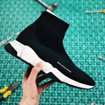 Balenciaga Stretch In Black Knit Speed Trainers With Black And White Sole Sneaker - Best Online Sale