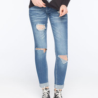 Almost Famous Double Roll Womens Skinny Jeans Medium Blast  In Sizes