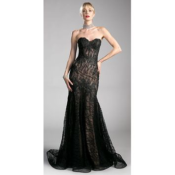 Lace Strapless Mermaid Long Formal Dress Black